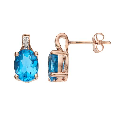 14k Rose Gold Over Silver Blue Topaz & Diamond Accent Oval Stud Earrings
