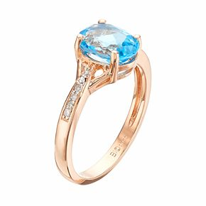 14k Rose Gold Over Silver Blue Topaz & Diamond Accent Oval Ring