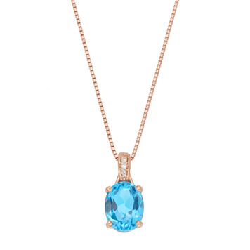 14k Rose Gold Over Silver Blue Topaz & Diamond Accent Oval Pendant