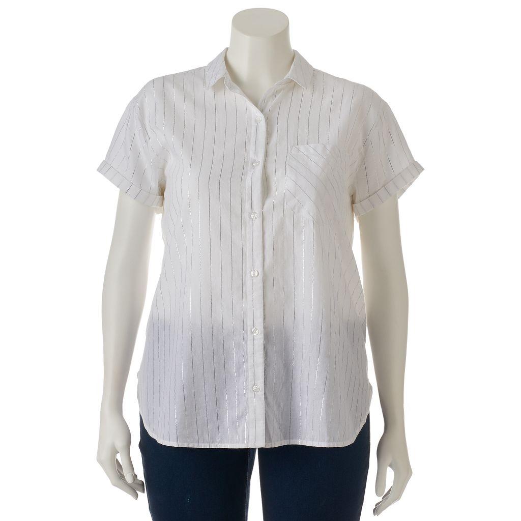 Juniors' Plus Size SO® Lurex-Stripe Shirt