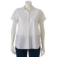 Juniors' Plus Size SO® Lurex-Stripe Shirt