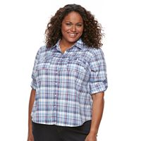 Plus Size Croft & Barrow® Roll-Tab Shirt