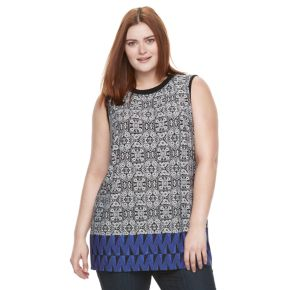 Plus Size AB Studio Printed Knit Tank
