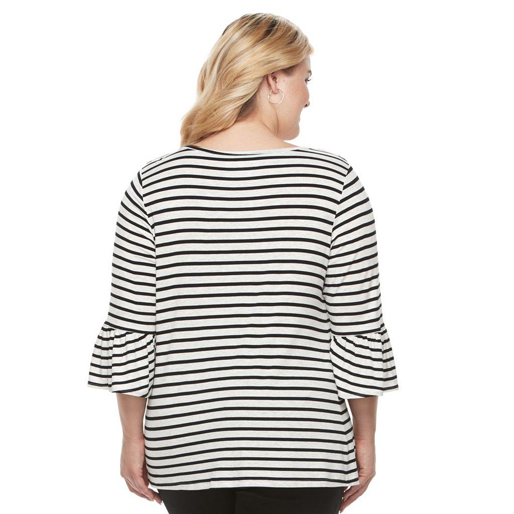 Plus Size Croft & Barrow® Bell Sleeve Peasant Top
