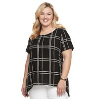 Plus Size Croft & Barrow® Shark-Bite Jacquard Tee