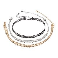 Glittery Lace Choker Necklace Set