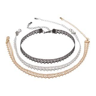 Glittery Lace Choker Necklace Set