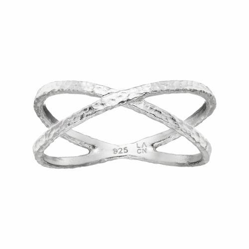 PRIMROSE Sterling Silver Hammered Crisscross Ring