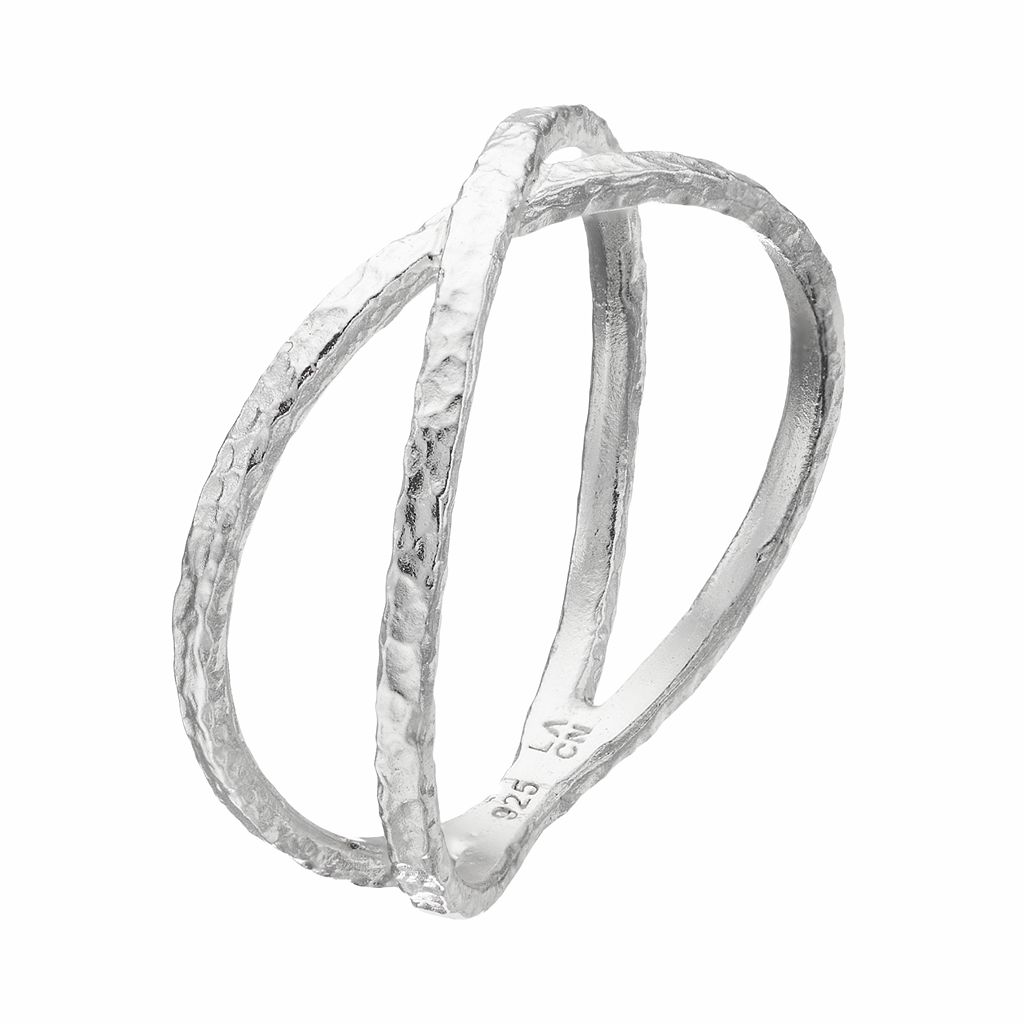 PRIMROSE Sterling Silver Hammered Crisscross Ring