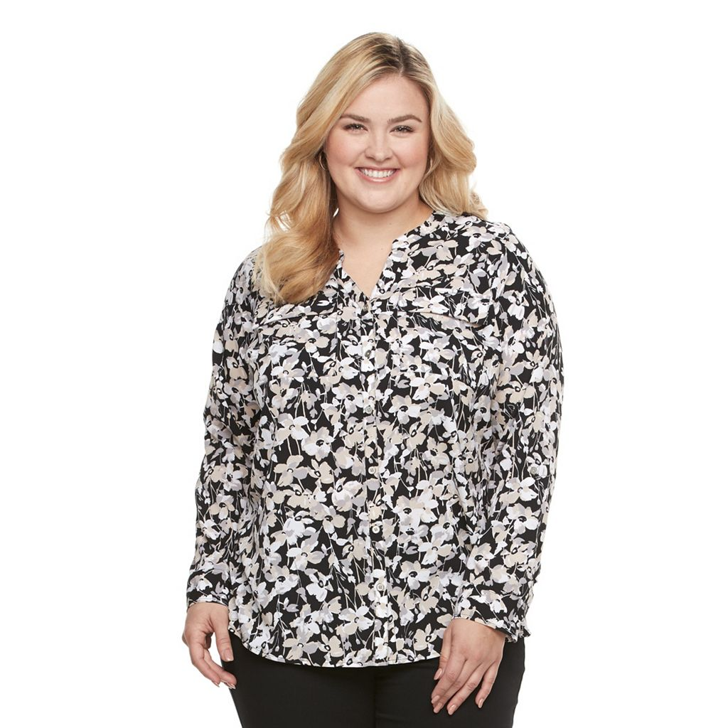 Plus Size Croft & Barrow® Crepe Button-Down Shirt