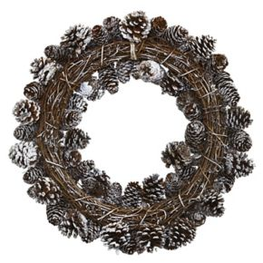nearly natural Artificial Snowy Pine Cone Wreath