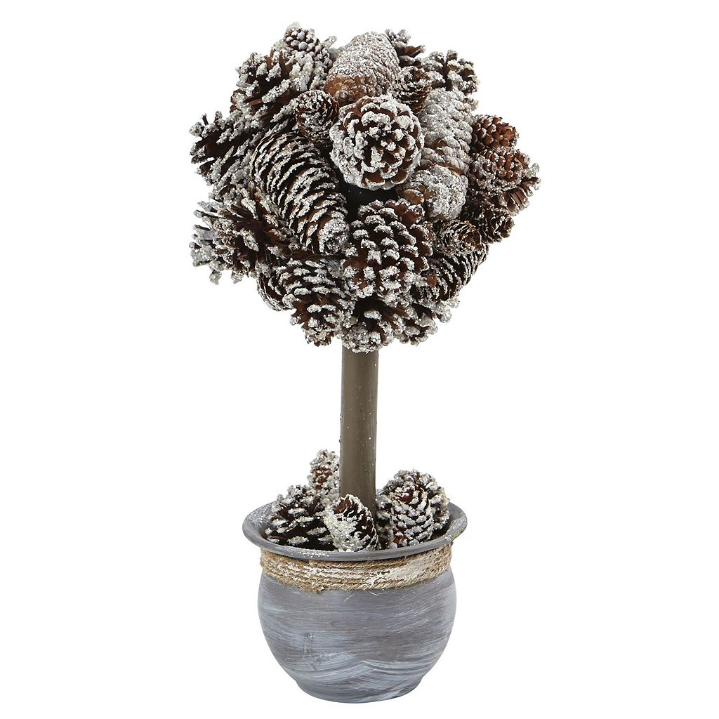 nearly natural Artificial Snowy Pinecone Topiary Tree