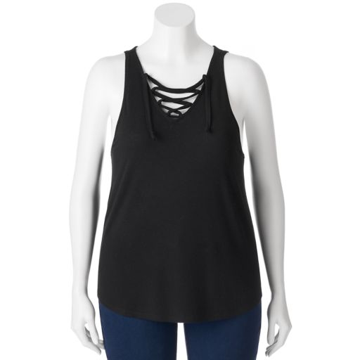 Juniors' Plus Size SO® Lace Up V-Neck Tank