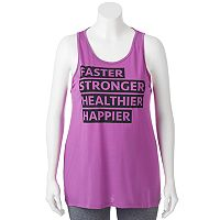 Juniors' Plus Size SO® Open Back Graphic Tank