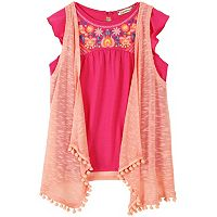 Girls 7-16 Speechless Pom-Pom Slubbed Vest & Embroidered Babydoll Top Set