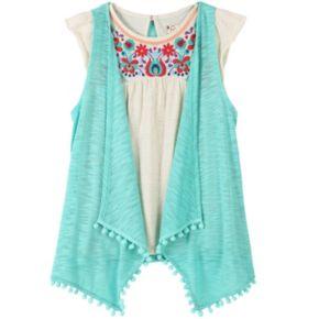 Girls 7-16 Speechless Pom-Pom Slubbed Vest & Embroidered Babydoll Top Set