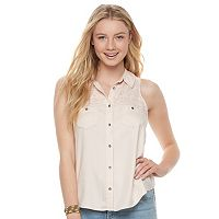 Juniors' Mudd® Embroidered Twill Blouse