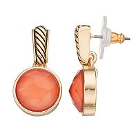 Napier Textured Nickel Free Peach Circle Drop Earrings