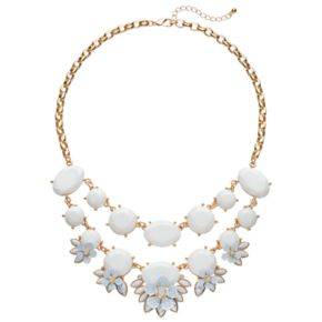 White Howlite Flower Swag Necklace