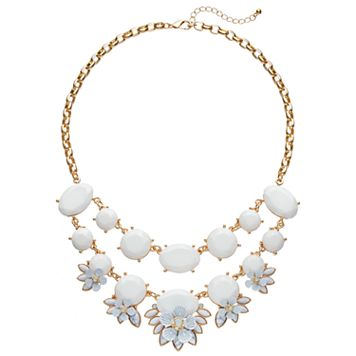 White Howlite Flower Swag Necklace