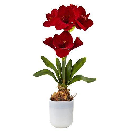nearly natural Silk Amaryllis Artificial Floral Arrangement