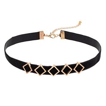 Black Diamond-Shaped Choker Necklace