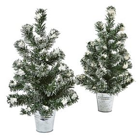 nearly natural 2-pc. Artificial Snowy 18-in. Mini Pine Tree Set