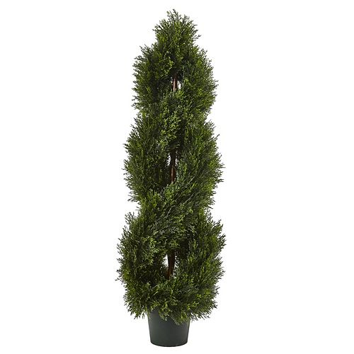 nearly natural Artificial Double Pond Cypress 4-ft. Spiral Topiary