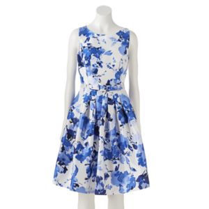 Women's Jessica Howard Pleated Floral Fit & Flare Dress