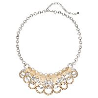 Napier Two Tone Hammered Circle Link Fringe Necklace