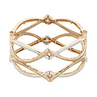 Napier Two Tone Curved Bar Crisscross Stretch Bracelet