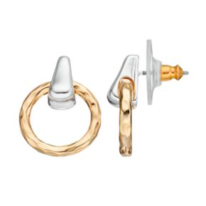 Napier Two Tone Nickel Free Door Knocker Earrings