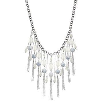 White Beaded Fringe Necklace