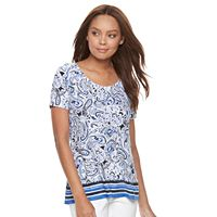 Petite Croft & Barrow® Scoopneck Jacquard Top