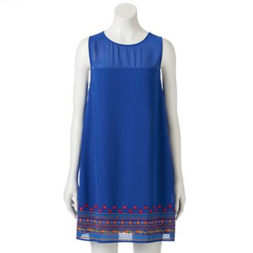 Juniors' Speechless Embroidered Hem Shift Dress