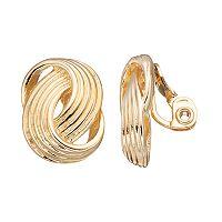 Napier Textured Interlocking Nickel Free Clip On Earrings