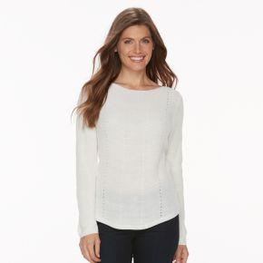 Petite Croft & Barrow® Transfer Stitch Sweater