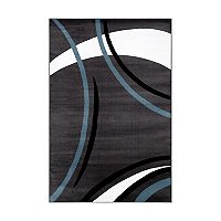 World Rug Gallery Alpine Contemporary Modern Wavy Circles Rug