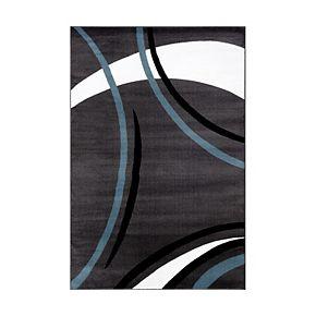 World Rug Gallery Alpine Contemporary Modern Wavy Circles Rug