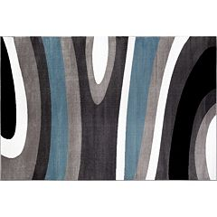World Rug Gallery Alpine Contemporary Modern Waves Rug