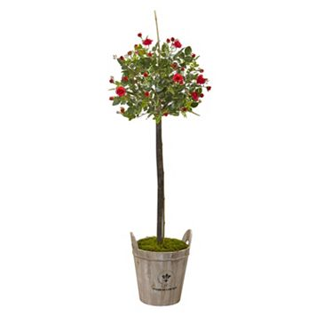 nearly natural Artificial 4.5-ft. Rose Topiary