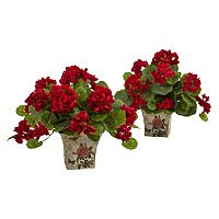 nearly natural 11 in Artificial Geranium Flowering Silk Plant 2 pc Set