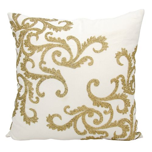 Mina Victory Lumin Beaded Corner Scroll Throw Pillow