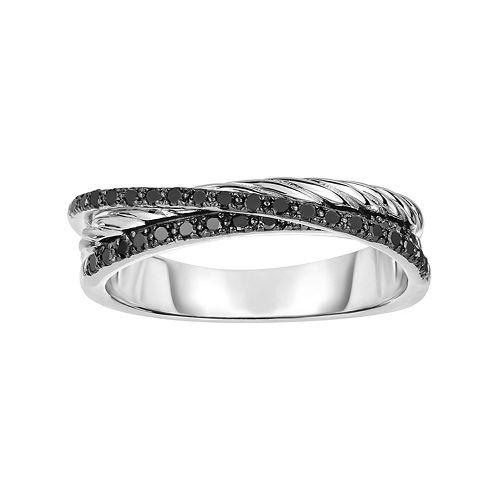 Sterling Silver 1/4 Carat T.W. Black Diamond Crisscross Ring