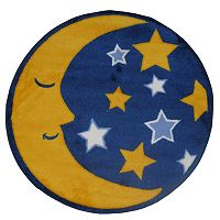 Fun Rugs Fun Time Shape Moon & Stars Rug - 2'7'' Round
