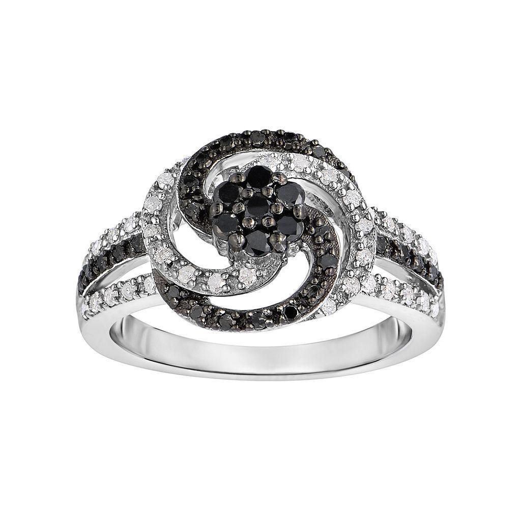 Sterling Silver 1/2 Carat T.W. Black & White Diamond Swirl Ring