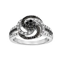Sterling Silver 1/2 Carat T.W. Black & White Diamond Swirl Ring