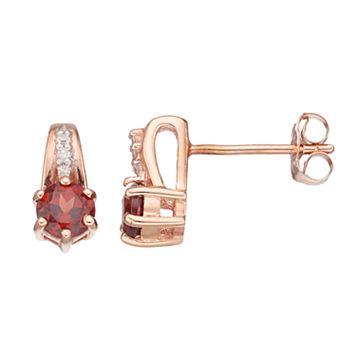10k Rose Gold Garnet & Diamond Accent Drop Earrings