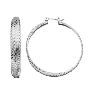 Napier Textured Nickel Free Hoop Earrings