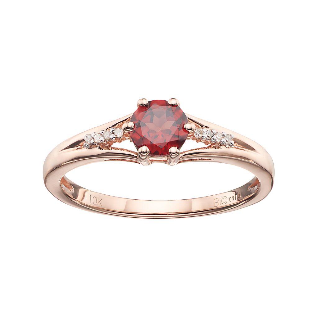 10k Rose Gold Garnet & Diamond Accent Ring